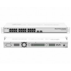 CRS326-24G-2S+RM: 24 port GbE rack mounted switch, 2SFP+ and routerOS